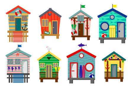 Set of beach houses with lifebuoy, surfboard and seagulls.