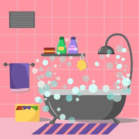 Bathroom interior illustration.