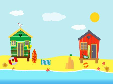 Beach houses, sea, sun, surfboard sand and leisure facilities.