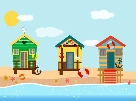 Illustration with beach houses by the sea.