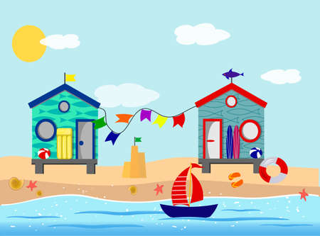 Beach houses, sand, sea, sun, surfing and paraphernalia for a seaside holiday.
