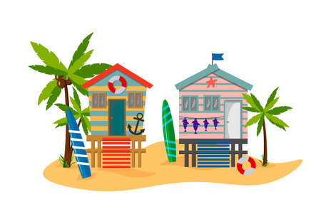 Summer beach illustration with beach houses, palm trees and sea.