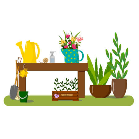 Garden illustration - a table, a watering can, a jug of flowers and a box of herbs, gardening tools.