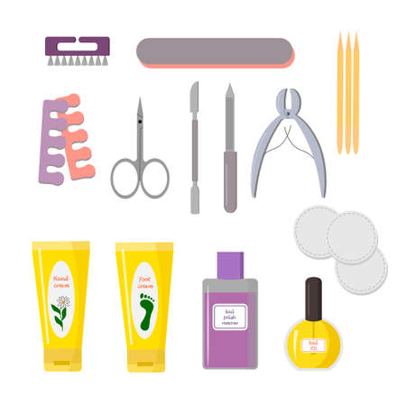 Set of tools for manicure. Nail files, hand and foot cream, oil and nail polish remover.