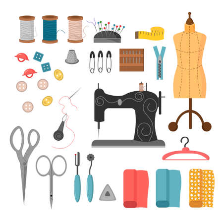A set of sewing tools. Threads, needles, buttons and sewing machine, mannequin and fabric cuts.