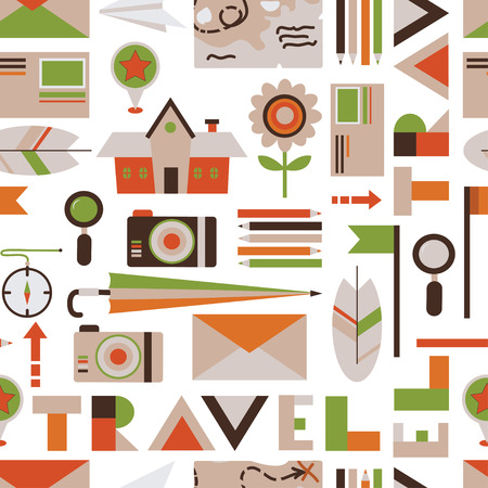 seamless background from cute travel icons, vector illustration Vector