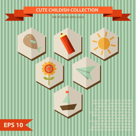 collection of icons with cute childish illustrations, vector decorative elements Vector