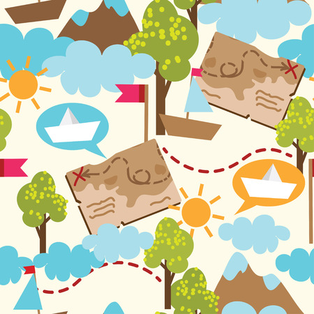 Childish adventure seamless texture, vector illustration Vector