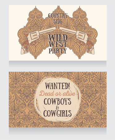Invitation for wild west party, wanted poster in country style, vector illustration