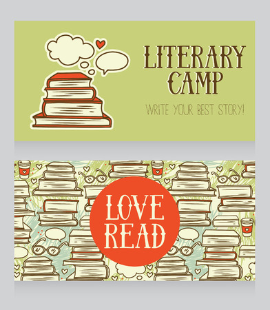 authorship: cards with books, two banners for literary camp, vector illustration