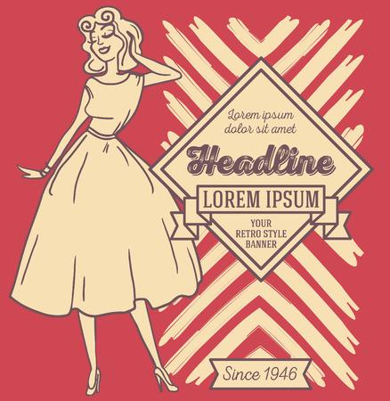 Bannière dans un style américain rétro, femme de style années 1950.