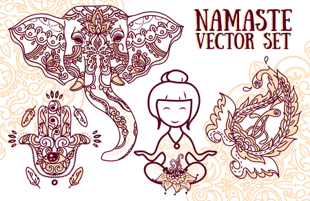 yoga meditation: set of vector illustrations for magical india and yoga: meditation woman, elephant, paisley and hamsa