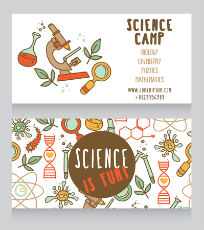 cards for science camp, bright doodle science icons, vector illustration