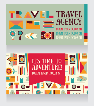 business travel: two banners for tourism and travel, can be used as business cards for travel agency or as party invitations, vector illustration