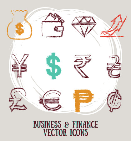 yuan: icon set related for business and finance, vector illustration Illustration