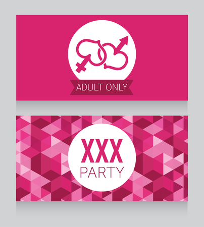 adult only: invitation for adult only party, xxx design, vector illustration