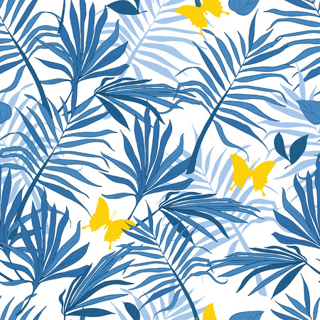 Seamless pattern palm leaves and butterflies, tropical style, vector illustration