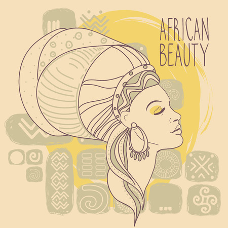 beautiful African American woman in hand drawn style, african spirit poster, vector illustration