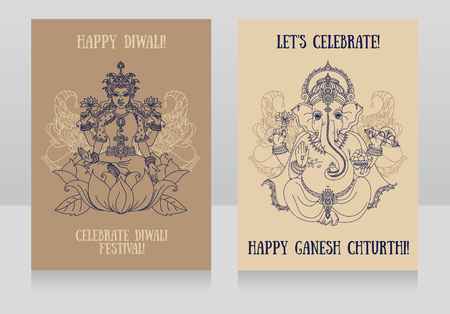 shree: Two cards with sitting Lord Ganesha and indian goddes Lakshmi, vector illustration Illustration