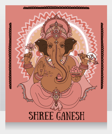 shree: Sitting Lord Ganesha, can be used as card for celebration Ganesh Chaturthi, vector illustration