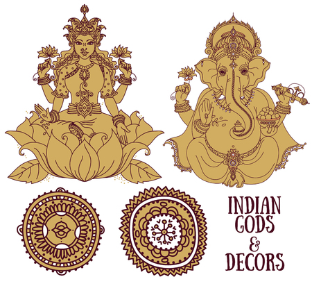 Set of vector illustrations with sitting Lord Ganesha and indian goddes Lakshmi