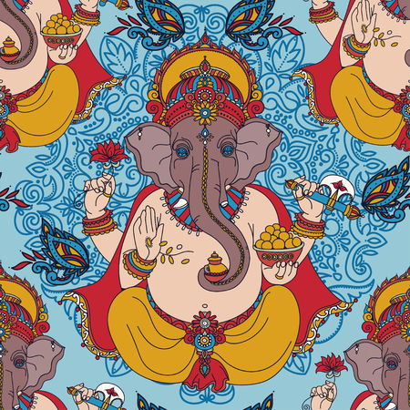Seamless pattern with Lord Ganesha and paisley ornament