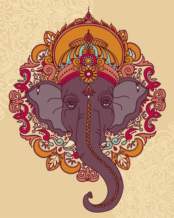 Lord Ganesha, can be used as card for celebration Ganesh Chaturthi, vector illustration
