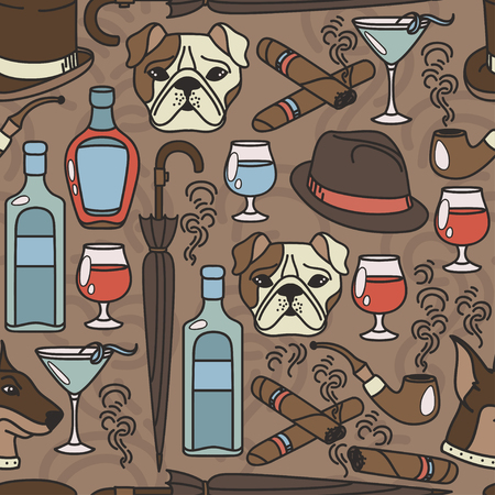 tall hat: Seamless pattern for gentlemans club, vector illustration