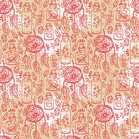 Seamless pattern with dream catchers and glass flasks, tribal magical ornament, vector illustration