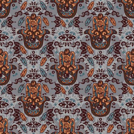 Seamless pattern with hamsa symbols, tribal tiled ornament, vector illustration Illusztráció