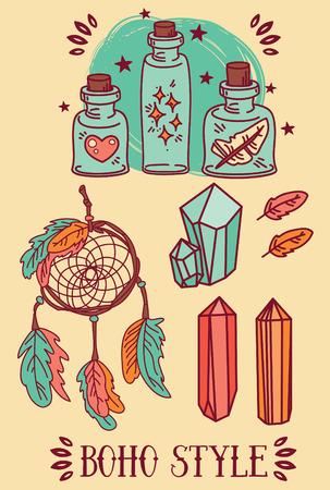 elixir: set of illustrations for gypsy spirit and magic Illustration