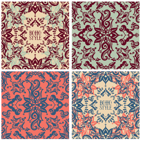 set of abstract seamless patterns and frames, vector illustration