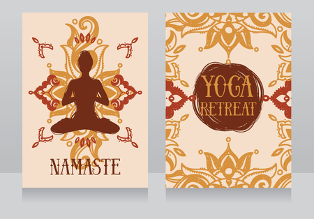sexual chakra: Cards template for yoga retreat or yoga studio, vector illustration Illustration