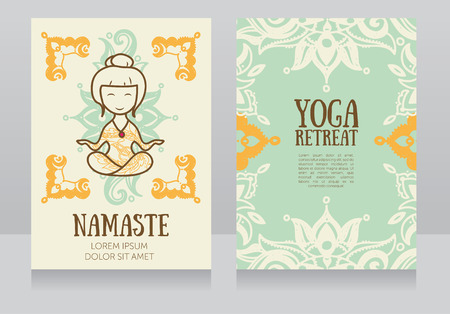 sexual chakra: cards template for yoga retreat or yoga studio, vector illustration