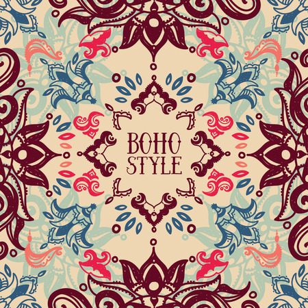 frame formed beautiful ornament in boho style, vector illustration Vettoriali