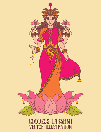 Beautiful indian goddess Lakshmi, vector illustration