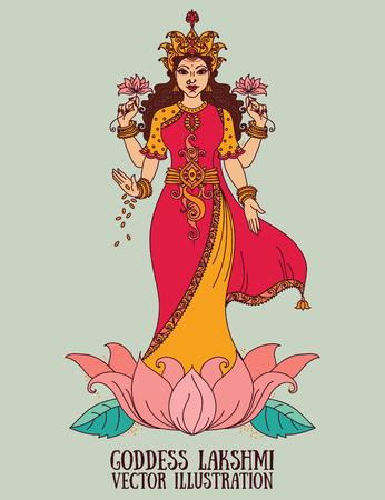 美しいインドの女神ラクシュミー、ベクトル イラスト