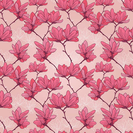 Pattern with beautiful magnolia flowers in japanese style, vector illustration