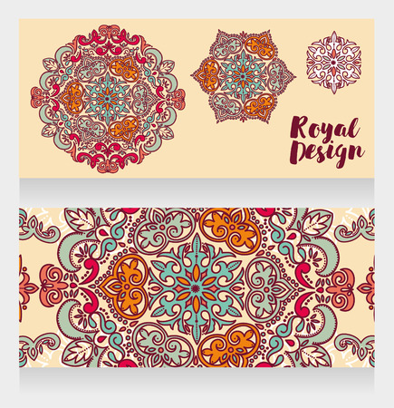Two cards with beautiful colorful ornaments, vector illustration Foto de archivo - 129903799