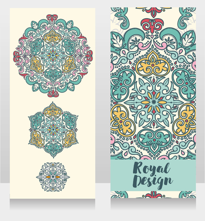 Two cards with beautiful colorful ornaments, vector illustration Foto de archivo - 129903800