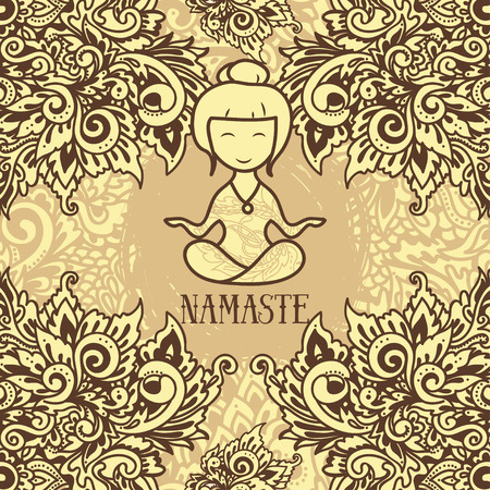 sexual chakra: Ornamental card for yoga studio, namaste poster, vector illustration