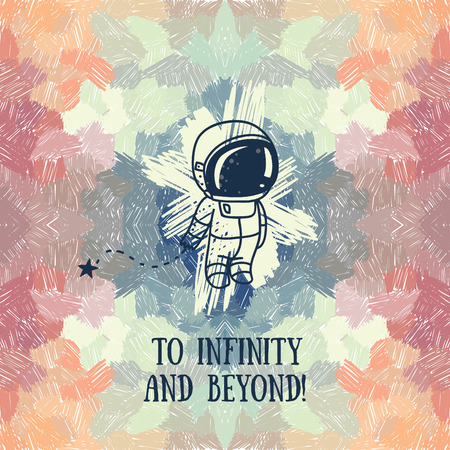 spaceflight: cute doodle astronaut on abstract artistic background, vector illustration Illustration