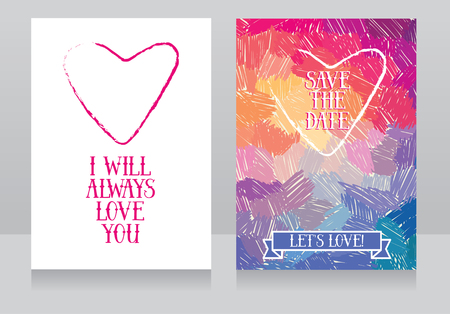 artistic cards for love, can be used for valentines day or as wedding invitations, vector illustration Illustration