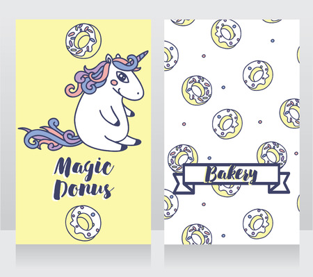 playroom: Cute cards for bakery with cartoon donuts and unicorn, vector illustration Illustration