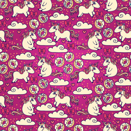Colorful seamless background with cute doodle unicorns and sweets, can be used as decor for playroom or bakery, vector illustration Illustration