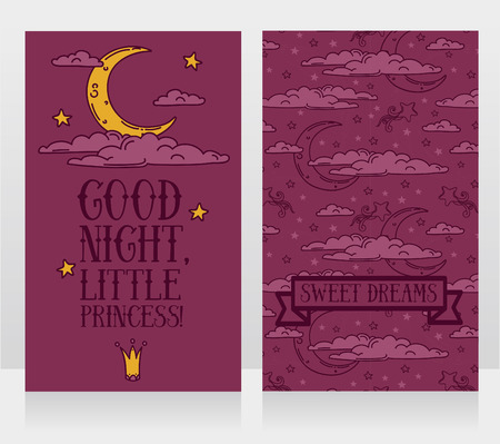 cards for sweet dreams with doodle moons and clouds, vector illustration Illustration