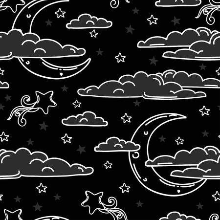 playroom: Colorful seamless background for sweet dreams with doodle moons and clouds, vector illustration