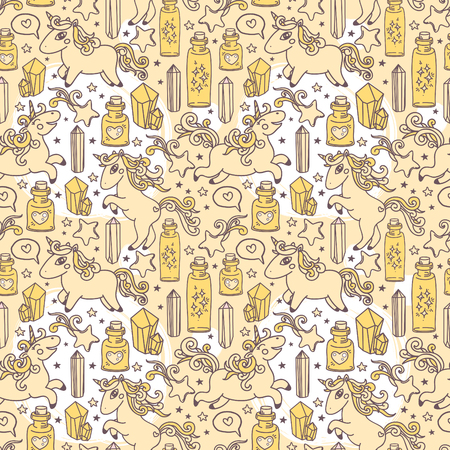 playroom: Cute seamless pattern with doodle unicorns, magic crystals and flasks, can be used as decor for playroom, vector illustration Illustration