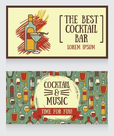 vermouth: banners for cocktail bar, can be used as template for party invitation, vector illustration