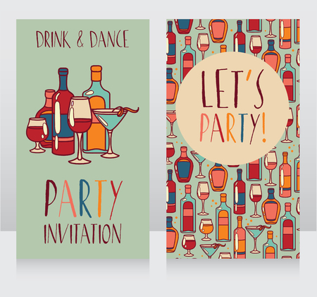 majority: Party invitation templates, can be used as birthday party invitation, vector illustration